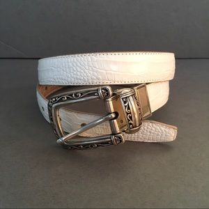 Brighton Reversible Tan White Croco Silver Belt